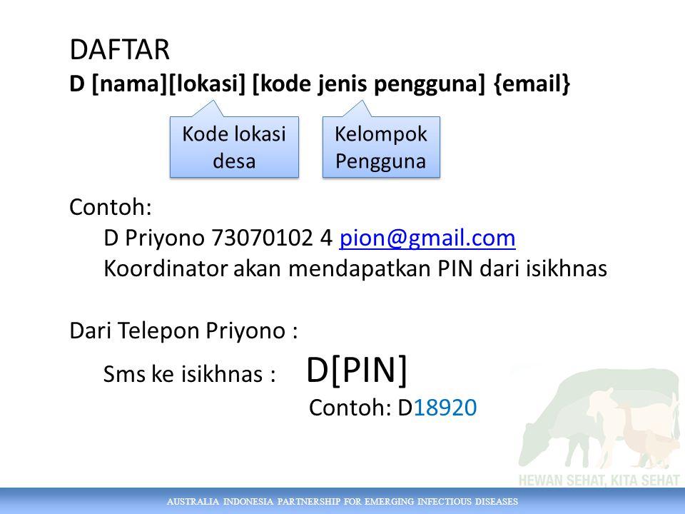 DAFTAR D [nama][lokasi] [kode jenis pengguna] {email} Contoh: